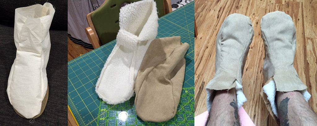 Prototype shoe, lining and exterior, and finished shoes.